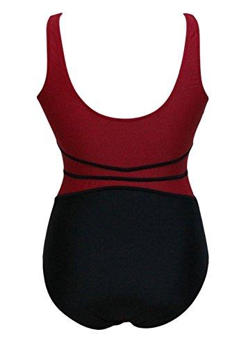 Pinkyee mujer rojo negro malla recorte Teddy Bañador Pattern Color