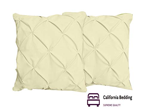 (California Bedding Pinch Plated/Pintuck Pillow Cover Sham Ivory Solid/Plain Set of 2 Luxuries Decorative 800 TC Long-Staple Egyptian Cotton Euro/Square 28x28 Size, Soft Breathable Natural Cotton)