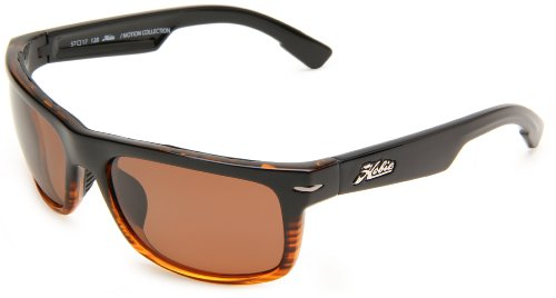 Hobie Olas Rectangle Sunglasses,Shiny Black Brown & Wood Grain Frame/Copper Lens,One Size