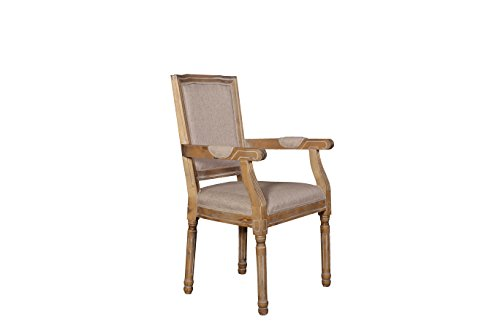 Kitchen Rustic Distressed Dining Room Chair with Arm Rests (Beige)