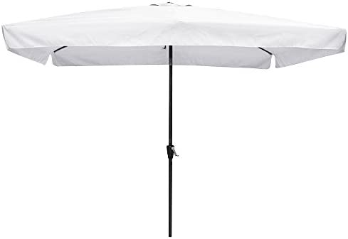 Yescom 10×6.5ft 2x3m Rectangle Aluminum Outdoor Patio Umbrella w Valance Sunshade Crank Tilt Market Garden White