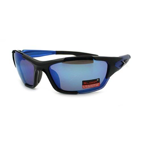 X Loop Mens Oval Futuristic Warp Outdoor Sports Plastic Frame Sunglasses Blue