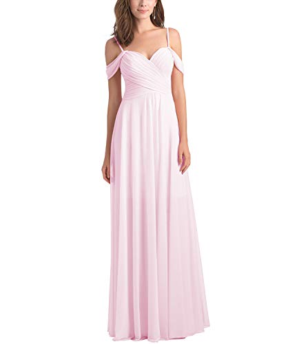 Women's Spaghetti Strap A Line Ruched Chiffon Long Prom Party Dress Evening Formal Ball Gown Light Pink Size 12 ()