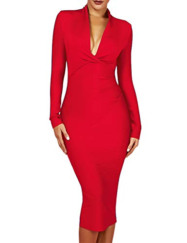 whoinshop Women 's Draped Deep Plunged Long Sleeve Night Out Club Cocktail Party Dresses with Knee Length (M, Red)