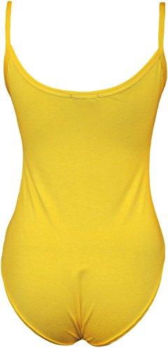Commencer - Body sin mangas para mujer, elástico, con tirantes amarillo