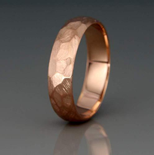 14K Rose Gold Men's Wedding Ring   Handmade solid 14k rose gold Rough Faceted half round men's wedding band   3mm 4mm 5mm 6mm 7mm ()