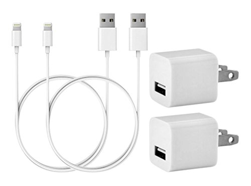 The Sill Charger Set 2x 3 Feet 1M Data Transfer Syncing 8 Pin USB+2x 1A Wall port charger for Iphone 5 5s 5c 6 6S 7 plus Ios 10 Compatible (White) (Wireless Data)