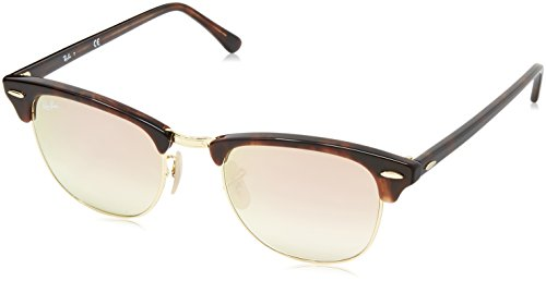 Ray-Ban CLUBMASTER - SHINY RED/HAVANA Frame COPPER FLASH GRADIENT Lenses 49mm - Clubmaster Amazon