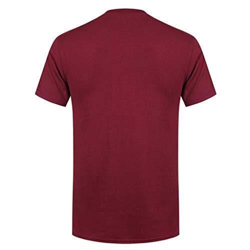 cou Tops Alphabet O Tee Printemps Vin Rouge Courtes Casual Shirt Mose Top Coton shirt Manches À Keerads Eté Homme Impression T nzZqwxwI1B