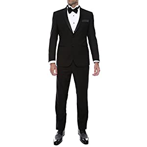 Ferrecci Men's Bronson Black Slim Fit Notch Collar Lapel 2 Piece Tuxedo Suit Set – Tux Blazer Jacket and Pants