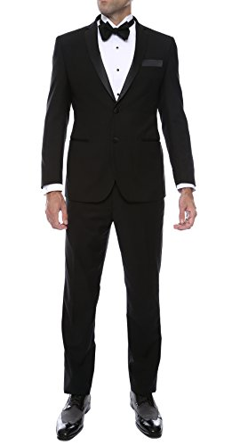 Ferrecci Men's Bronson Black Slim Fit Notch Lapel 2pc Tuxedo - 38L]()