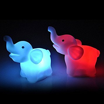 Baifeng 2Pcs Elephant Color Changing LED Night Light Lamp Wedding Party Home Decor
