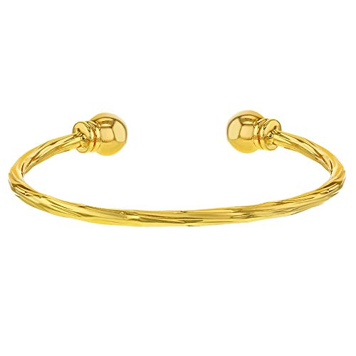 In Season Jewelry 18k Yellow Gold Plated Twisted Cable Cuff Baby Bracelet Newborn ()