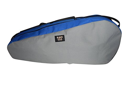 (BAGS USA Deluxe Tennis Bag with Shoe Compartment Made in U.s.a. (Blue/Silver))