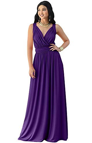 KOH KOH Womens Long Sleeveless Flowy Bridesmaids Cocktail Party Evening Formal Sexy Summer Wedding Guest Ball Prom Gown Gowns Maxi Dress Dresses, Purple L 12-14