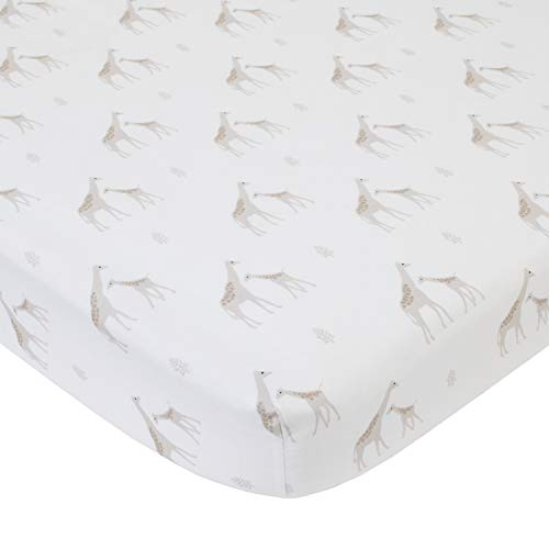 NoJo Serendipity Giraffe Print 100% Cotton Fitted Crib Sheet, Ivory/Taupe