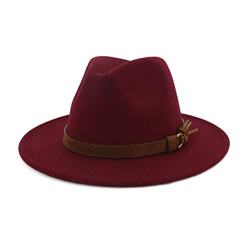 Classic Red Felt Hat - Lisianthus Men & Women Vintage Wide Brim Fedora Hat with Belt Buckle Wine 59-60cm