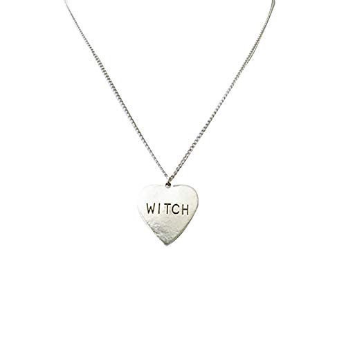 Aland Love Heart Pendant Witch Letter Halloween Necklace Women Party Jewelry Gift European Creative Love Witch Witch Halloween Necklace Silver ()