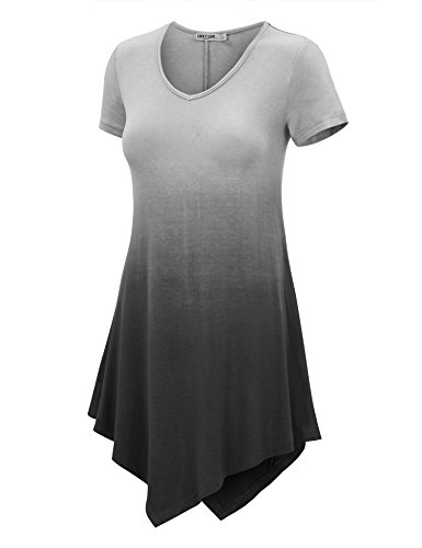 WT1051 Womens V Neck Short Sleeve Ombre Tunic Top S BLACK ()