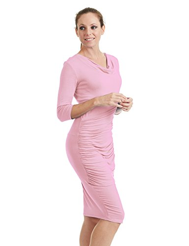 Ctc Womens Profond Col V Manches 3/4 Robe Moulante Tulipe - Made In Usa Wdr1185_pink