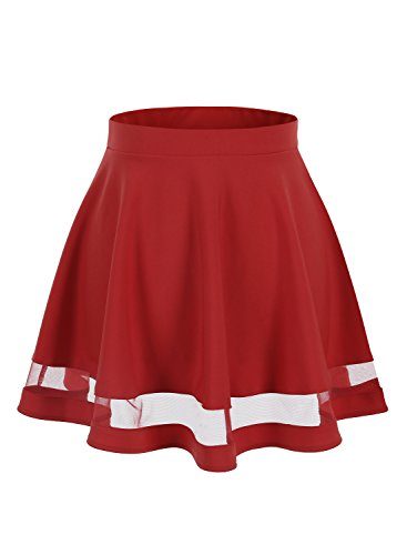 (Wedtrend Women's Basic Versatile Stretchy Flared Casual Mini Skater Skirt WTC10021RedS)