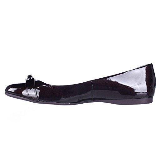 Coach Womens Oswald Leather Closed Toe, Black/Black Patent/Patent, Size 8.0