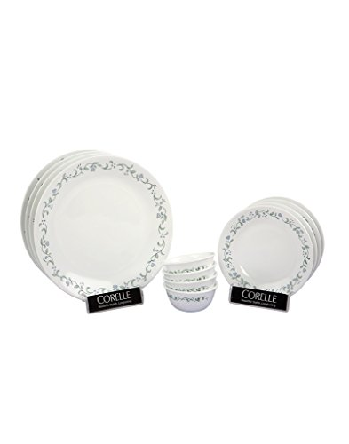 Corelle Livingware Country Cottage Glass Dinner Set, 12-Pieces, White/Green