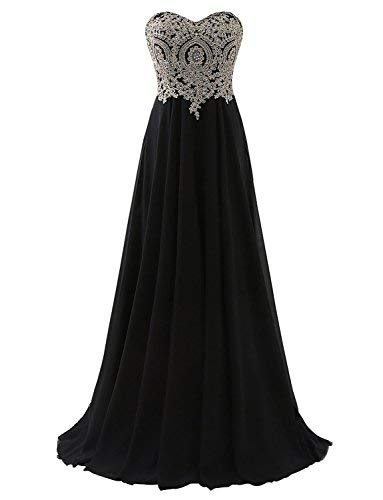 Erosebridal Sweetheart Prom Dress with Gold Embroidery Chiffon Bridesmaid Party Gowns (12, Black) (Bodice Strapless Evening Gown)