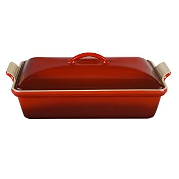 Image of Le Creuset PG07053A-3367 Heritage Stoneware Covered Rectangular Casserole, 4-Quart, Cerise