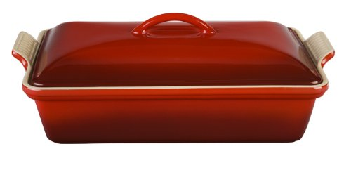 Le Creuset Heritage Stoneware 12-by-9-Inch Covered Rectangular Dish, Cerise (Cherry Red) (Casserole Covered Bakeware)