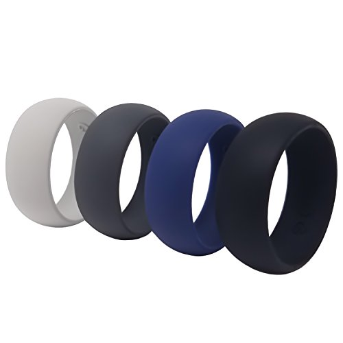 Silicone Wedding Ring For Men, Four Pack ()