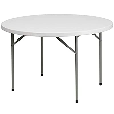 Flash Furniture 48'' Round Granite White Plastic Folding Table [RB-48R-GG]