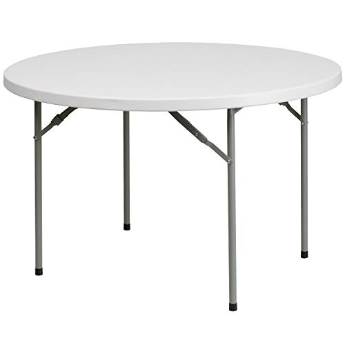 Flash Furniture 48 Round Granite White Plastic Folding Table RB-48R-GG