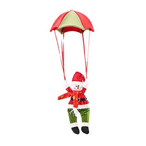 PRETYZOOM Árbol de Navidad Adornado con Adornos navideños muñeco de Nieve en paracaídas (Rojo Verde)