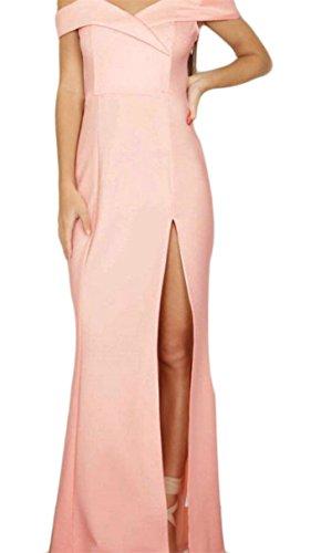 Bodycon Maxi Side Split Dress Women's Off Jaycargogo 1 Slim Shoulder Party xw07YqIH4