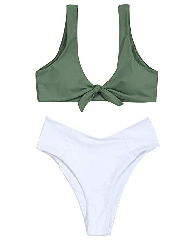 MOOSLOVER Women's 2 Piece High Cut Cheeky Bottom Bikini Bow Knot Bathing Suit(L,Army Green) ()