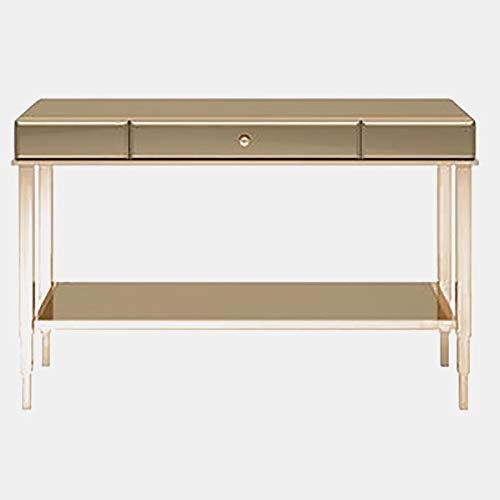 - Wood Rectangular Console Table with Metal Base - Mirrored Console Table with Drawer and Shelf - Champagne Gold
