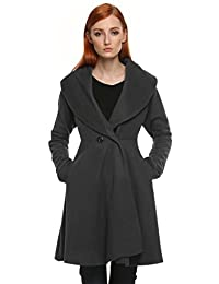 ANGVNS Women ladies Wind Coat Loose Solid Winter Long Retro Trench Coat