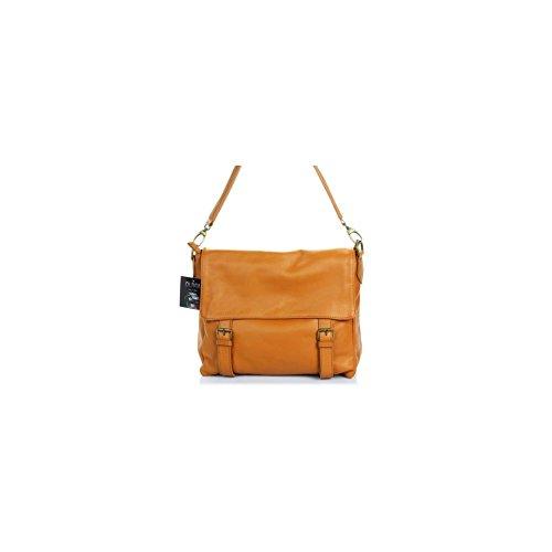 LONDON-Borsa a mano, in pelle, colore: marrone cammello N1929 Tracolla rimovibile