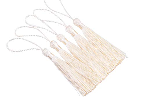 - KONMAY 20pcs Silky Handmade Tiny(3.5'') Soft Craft Mini Tassels with Loops for Bookmarks Jewelry Making, Decoration DIY Projects (Cream)