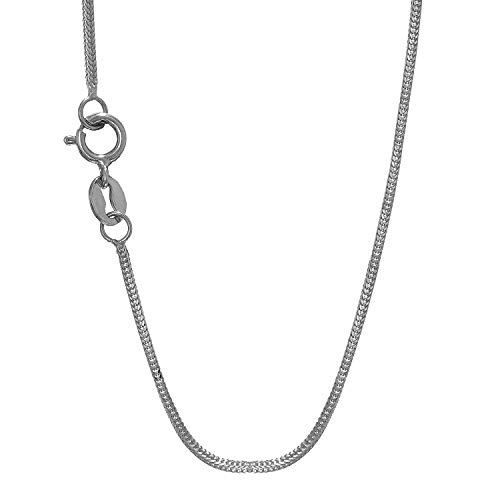 JewelStop 14k Solid White Gold 0.8 mm Foxtail Chain Necklace, Spring Ring - 16