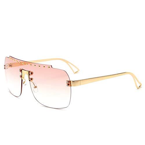 marco tendencia sola americana de C del de europea Las gafas y de sol pieza del sin diamante de gradiente forman gafas sol NIFG una la gn1Y6Uw
