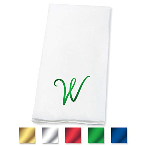 Lillian Vernon Script Personalized Monogram Linen-Like Hand Towels (Set of 100)- 50% Cotton 50% Paper Blend, 13
