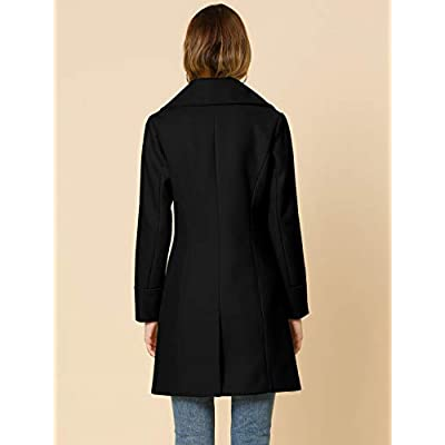 Allegra K Women's Elegant Notched Lapel Button Single Breasted Winter Coat: Clothing