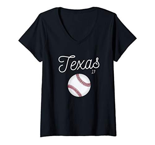 Womens Texas Baseball Tshirt 2019 Giant Ranger Ball V-Neck T-Shirt (Texas Rangers V Neck)
