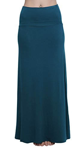 urban-coco-womens-stylish-spandex-comfy-fold-over-flare-long-maxi-skirt-xl-steel-blue
