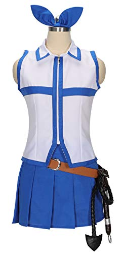 HOLRAN Fairy Tail Lucy Dress Cosplay Costumes and Whip (Large) Blue]()