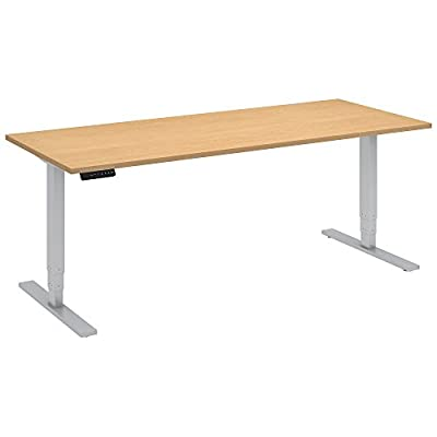 Move 80 Series by Bush Business Furniture 72W x 30D Height Adjustable Standing Desk in Natural Maple with Cool Gray Metallic Base