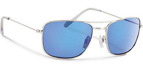 Forecast Optics Carlton Sunglass, Silver, Blue Mirror ()