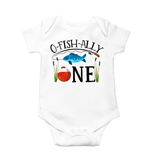 O-Fish-Ally One Bodysuit for Baby Boys Fishing Themed First Birthday Outfit White Bodysuit